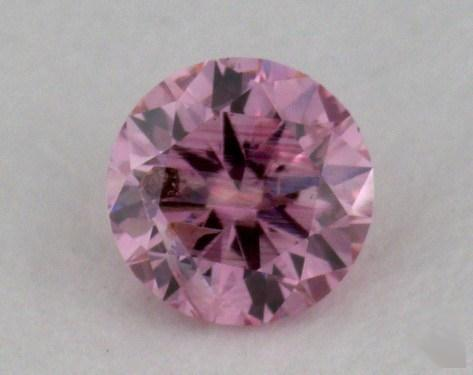 0.19 Carat fancy intense purplish pink Round Cut Diamond