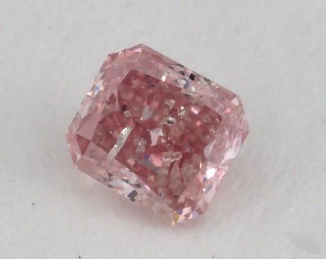 0.17 Carat fancy intense pink Radiant Cut Diamond