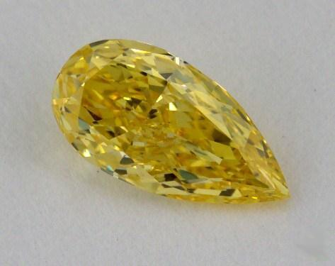 0.55 Carat fancy intense yellow -SI1 Pear Shaped  Diamond