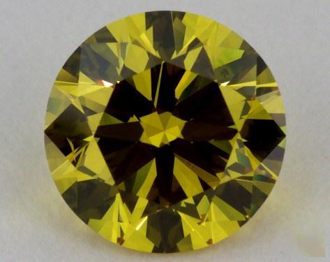 1.05 Carat fancy deep yellow -SI1 Round Cut  Diamond