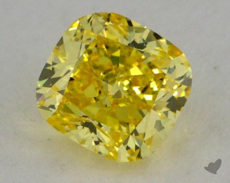 1.02 Carat fancy vivid yellow-VS1 Cushion Cut  Diamond