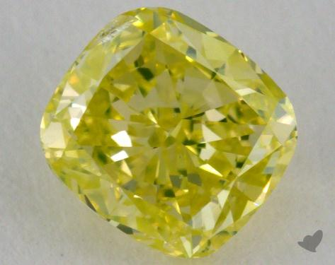 0.72 Carat fancy greenish yellow Cushion Cut Diamond