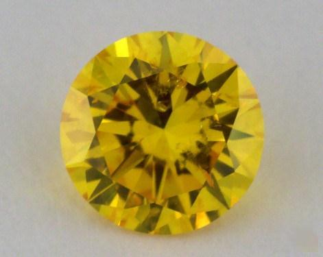 0.52 Carat fancy vivid yellow Round Cut Diamond