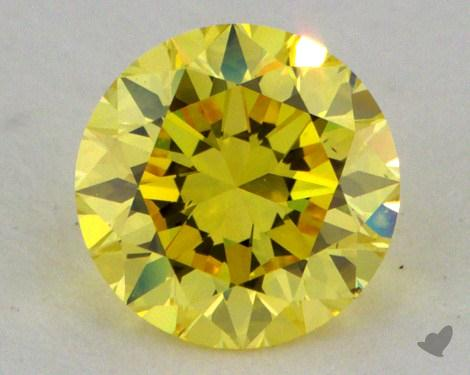 0.54 Carat fancy intense yellow-VS1 Round Cut Diamond 