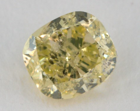 0.43 Carat fancy greenish yellow Cushion Cut Diamond 