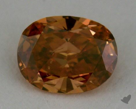0.42 Carat fancy deep brownish yellowish orange Oval Cut Diamond