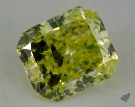 0.29 Carat fancy intense yellowish green Radiant Cut  Diamond