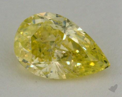 0.94 Carat fancy intense greenish yellow Pear Shaped  Diamond