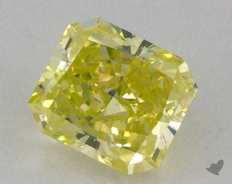 0.77 Carat fancy intense greenish yellow Radiant Cut Diamond