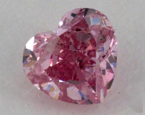 0.19 Carat fancy intense purplish pink Heart Cut Diamond