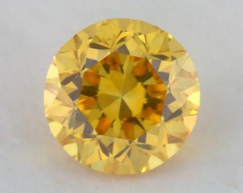 0.20 Carat fancy vivid orange yellow Round Cut Diamond