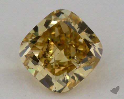 1.02 Carat fancy deep brownish yellow Cushion Cut Diamond