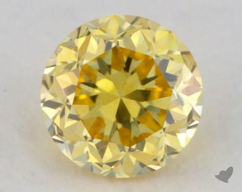0.18 Carat fancy vivid yellow Round Cut Diamond