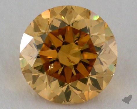 1.50 Carat fancy brownish orange yellow Round Cut  Diamond