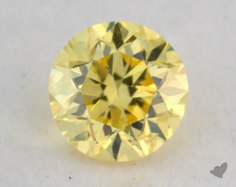 0.20 Carat fancy intense yellow Round Cut Diamond