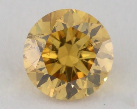 0.31 Carat fancy intense orange yellow-I1 Round Cut Diamond