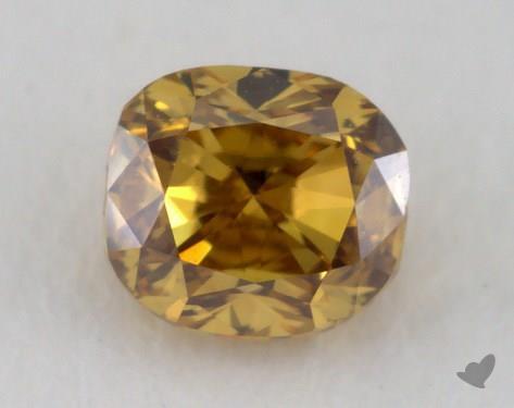 0.28 Carat fancy deep brownish yellow-VS1 Cushion Cut Diamond