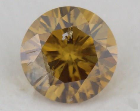 0.25 Carat fancy deep brownish orangy yellow-I2 Round Cut  Diamond