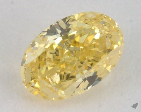 0.72 Carat fancy intense yellow-SI2 Oval Cut Diamond