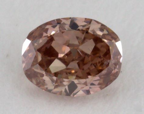 0.32 Carat fancy deep orangy pink-SI2 Oval Cut Diamond