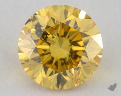 0.30 Carat fancy vivid yellow-I1 Round Cut Diamond