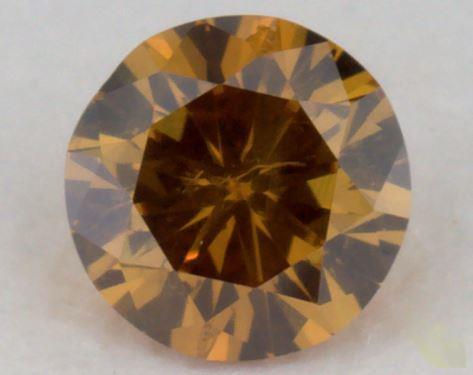 0.22 Carat fancy deep brownish yellowish orange-I1 Round Cut  Diamond