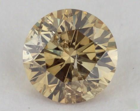 0.39 Carat fancy deep brownish greenish yellow-I1 Round Cut Diamond