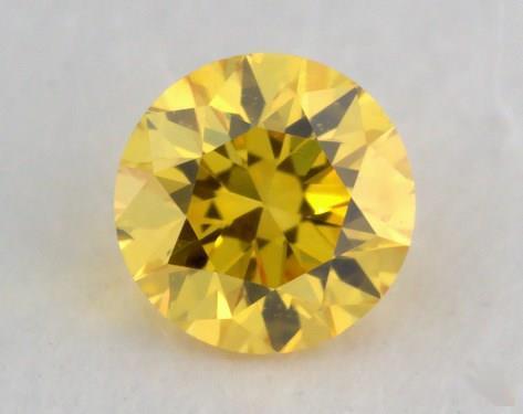 0.17 Carat fancy vivid yellow Round Cut Diamond