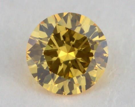 0.14 Carat fancy vivid yellow Round Cut Diamond