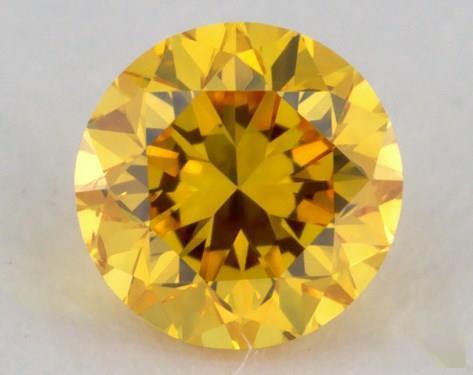 0.23 Carat fancy vivid orange yellow Round Cut Diamond