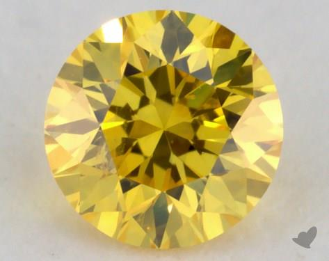 0.23 Carat fancy vivid yellow Round Cut Diamond