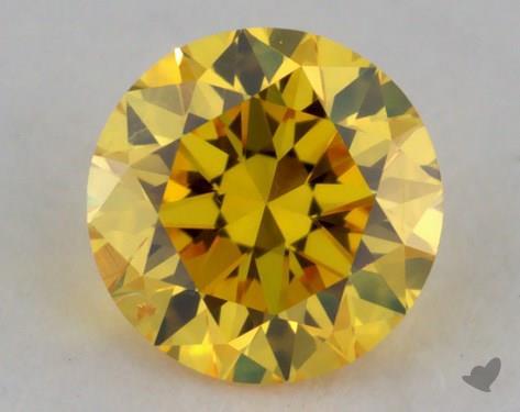 0.24 Carat fancy vivid yellow Round Cut Diamond