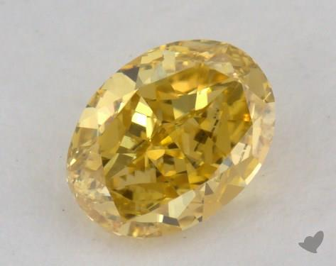 0.57 Carat fancy vivid yellow Oval Cut Diamond
