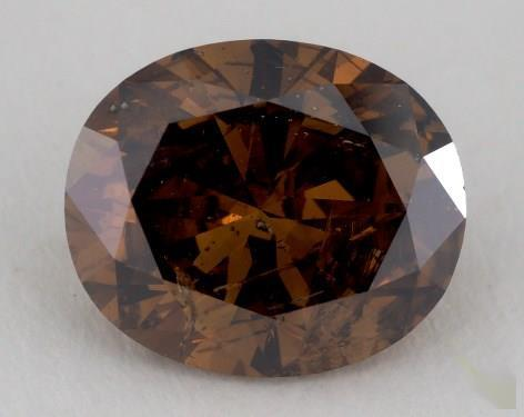 2.68 Carat fancy dark orangy brown-I1 Oval Cut Diamond