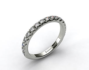 Platinum 0.34ct Rounded French-Cut Pave Diamond Wedding Ring