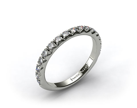 14k White Gold 0.34ct Rounded French-Cut Pave Diamond Wedding Ring