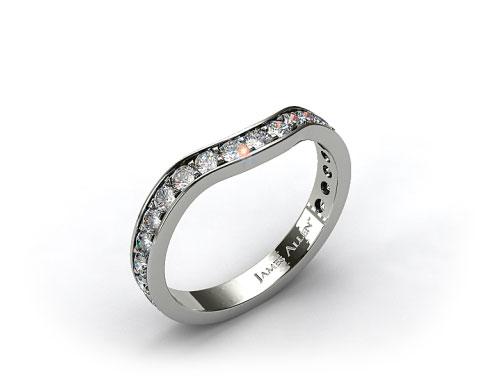 18K White Gold Ladies 0.42ctw Curved Pave Set Diamond Wedding Ring