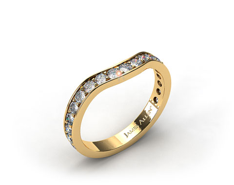18K Yellow Gold Ladies 0.42ctw Curved Pave Set Diamond Wedding Ring
