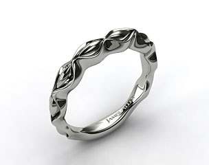 18K White Gold Sculpted Designer Wedding Ring