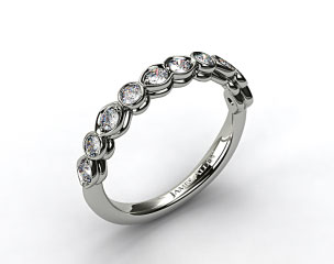 14K White Gold Marquise and Round Bezel Set Wedding Band