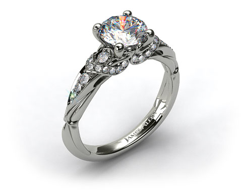 18k White Gold Graduated Pave Engagement Ring