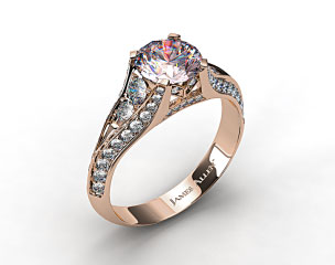 18k Rose Gold 0.50ctw Pave Set Diamond Engagement Ring