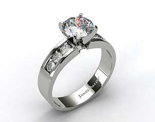 14K White Gold 0.30ct Channel Set Round Shaped Diamond Engagement Ring