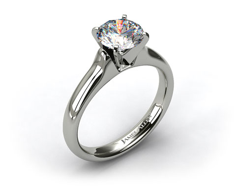 14k White Gold Heavy Contour Solitaire Engagement Ring