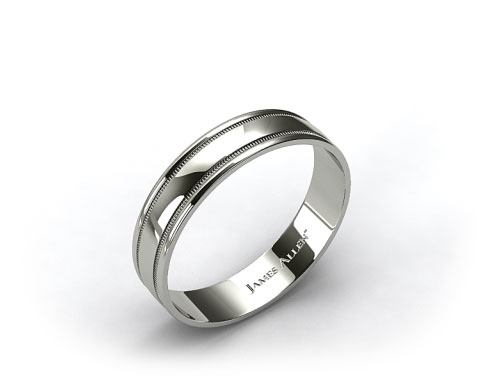Palladium 4mm Milgrain Comfort Fit Wedding Band
