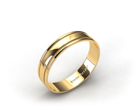 18k Yellow Gold 4mm High Polish Milgrain Comfort Fit Wedding Band