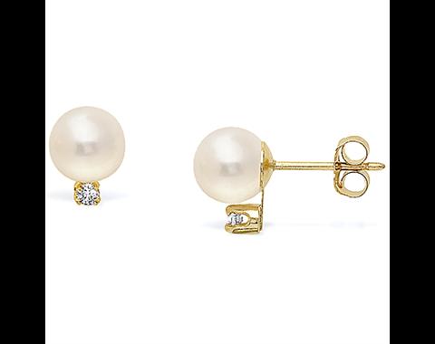 14k  Yellow Gold 5-5.5mm Akoya Pearl & Diamond Stud Earrings