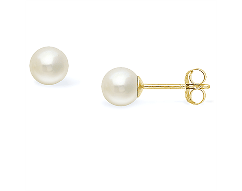 14k Yellow Gold 5-5.5mm Akoya Pearl Stud Earrings