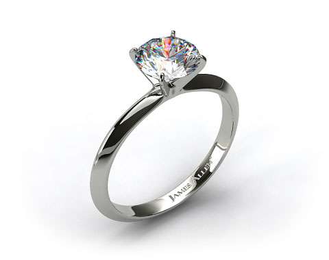 14k White Gold 2mm Knife Edge Solitaire Engagement Ring