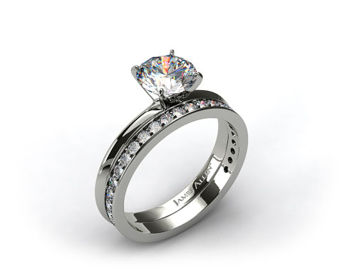 18kt White Gold 2mm Knife Edge Solitaire Engagement Ring & .17ct Pave Diamond Wedding Ring